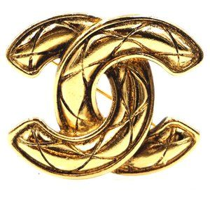 Chanel Gold Rare Cc Medium Large Quilted Brooch